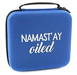Namastay Oiled Essential Oil Carrying Case Holds 30 5ml/10ml/15ml Bottles; Blue Nylon Travel-Friendly Foam-Padded Aromatherapy Organizer w/ Handle & Zipper