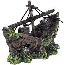 Ornamento Acuario - SODIAL(R) Barco de Pesca del Ornamento del Acuario Decoracion Para
