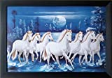 #5: Shree Handicraft Seven(7) White Horses Running Photo Frame Home Decorative Painting (49 cm x 34 cm x 1 cm,Acrylic Sheet used)