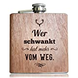 Holz Flachmann mit lustigem Spruch