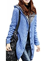 today-UK Women Fleece Lined Hooded Cable Knit Button Down Cardigan Sweaters