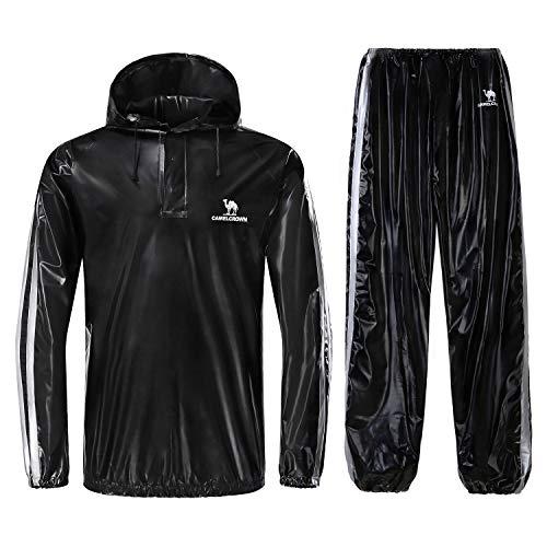 Camel Krone Heavy Duty Sweat Anzug Sauna Gymnastik Anzug Schwarz für Fitness, Gewicht Verlust, XX-Large -