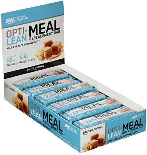 Optimum Nutrition Opti-Lean Mahlzeitersatz Protein Riegel (mit Vitamin A, C, D und balaststoffreich. Fettarmer Proteinriegel von ON) Salted Caramel, 1er Pack (12x60g)