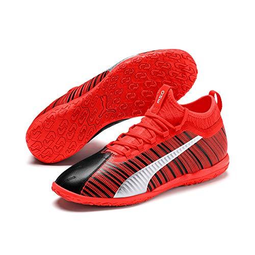 Puma One 5.3 It, Scarpe da Calcetto Indoor Unisex-Adulto, Black/Nrgy Red Aged Silver 01, 8 EU