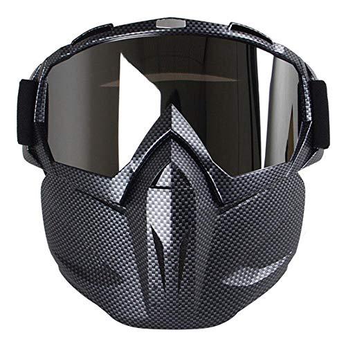 CWeep Detachable Motorcycle Goggles Mask, Windproof MultipurposeTactical Glasses Detachable Mask CS/Desert Offroad Riding/Skiing/Snowmobile/Cycling/Halloween/Costume Ball(Carbon Fiber) (Costume Tpu Halloween De)