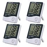 eSynic 4 Piezas Digital Medidor Termómetro Higrómetro LCD con Reloj de Alarma Monitor de Humedad...