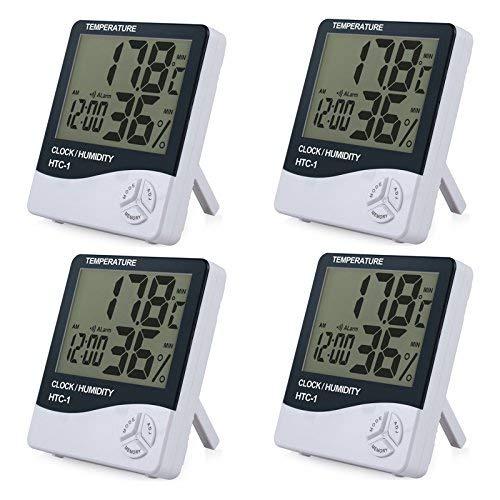 eSynic 4 Piezas Digital Medidor Termómetro Higrómetro LCD con Reloj de Alarma Monitor de Humedad de Temperatura Interior para el Familia Oficina