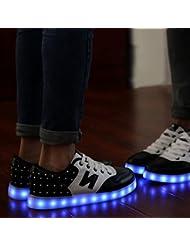 Teckey USB de car ga de 7 colores de luz LED unisex zapatilla de deporte del zapato por la fiesta de baile de Navidad de San Valentín(Talla:35-44)