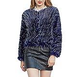 Deloito Winter Wärmer Wollmantel Damen Freizeit Langarm Parka Outwear Blauer Pfau Kunstpelz Plüschjacke Kurze Jacke Übergangs Mantel (Blau,Large)
