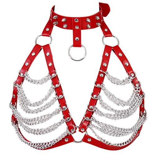 PETMHS Damen Harness BH Leder Body Harness für Frauen Punk Goth Tops Cage Strap Anpassen Plus Size Festival Rave Kostüm (Rot)