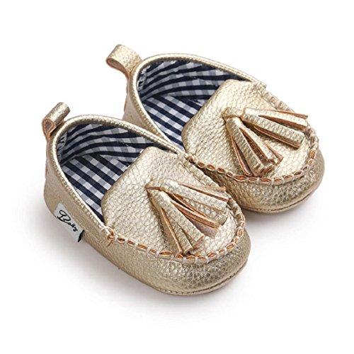 BZLine® Baby Mädchen Jungen weichen Sole Leder Schuh weichen Flats Schuhe Gold
