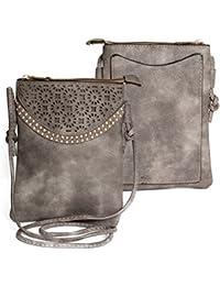 Kandharis Damen Umhängetasche Schultertasche Minibag Ethno CrossOver Tasche mit Nieten Blumen CutOut Muster GB-10