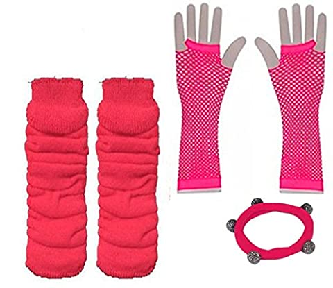 A-Express® Ladies Girls Neon Solid Leg Warmers Long Fishnet Gloves