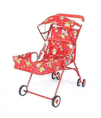 PoshTots Bear Print Pram Folding Baby Birthday Gift Pram Cum Stroller cum rocker With Canopy Stroller - Red  available at amazon for Rs.1299