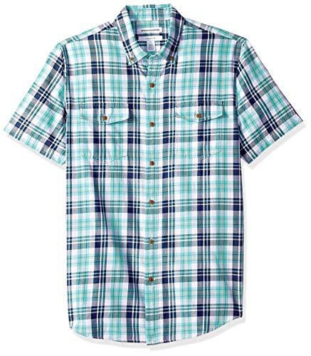 Amazon Essentials Herren Slim-Fit-Hemd aus Baumwolltwill mit kurzen Ärmeln und zwei Brusttaschen, Grün (Green/Blue Check Gbc), Medium -