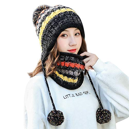 BESSKY Fleece Lined Women Knit Beanie Scarf Set Girl Winter Ski Hat with Earflap Pompom Thickened Earmuffs Collar Collar Set Black Animal Print Fleece-jacken
