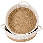 """Goodpick 2pack Cotton Rope Basket  Woven Storage Basket  9.8"""" x 8.7"""" x 2.8"""" Small Rope Baskets for Kids Home Decor Toy Basket Organizer  Desk Basket Containers for Jewellery, Keys  Hemp Rope Bowl"""