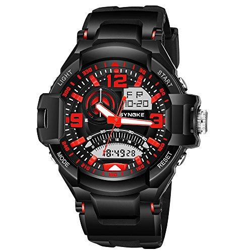 YZCX Herren Uhr Sportuhr Analog Digital Quarzuhr 50 Meter Wasserdicht Armbanduhr Alarm LED Licht Chronograph Datum, Rot -