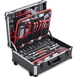 Meister Werkzeugtrolley 156-teilig - Werkzeug-Set - Mit Rollen - Teleskophandgriff / Profi Werkzeugkoffer befüllt / Werkzeugkiste fahrbar auf Rollen / Werkzeugbox komplett mit Werkzeug / 8971440