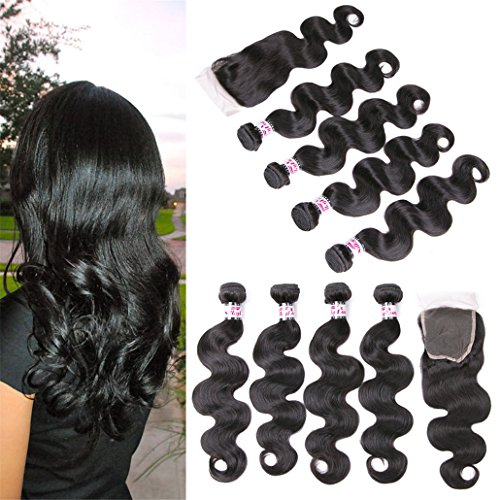 Body Wave Bundles Hair With Closure Brazilian Hair Weave 4 Budnles Lace Closure Frontal Echthaar Black Natural Hair With Baby Hair Remy Human Hair Closure Echthaar 20 22 24 26 +18