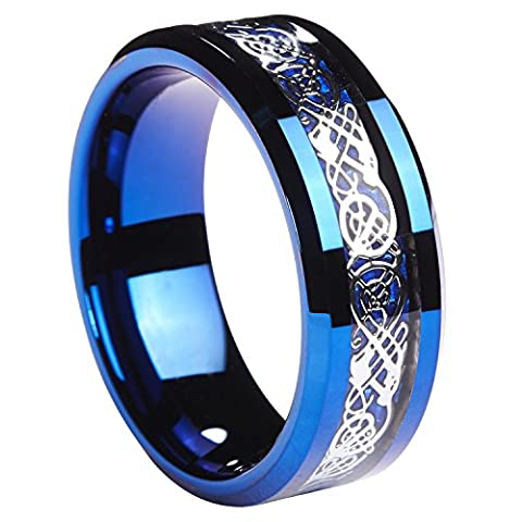8MM Blue Tungsten Carbide Ring Silvering Celtic Dragon Blue Carbon Fibre Inlay Mens Wedding Band Size 11.5