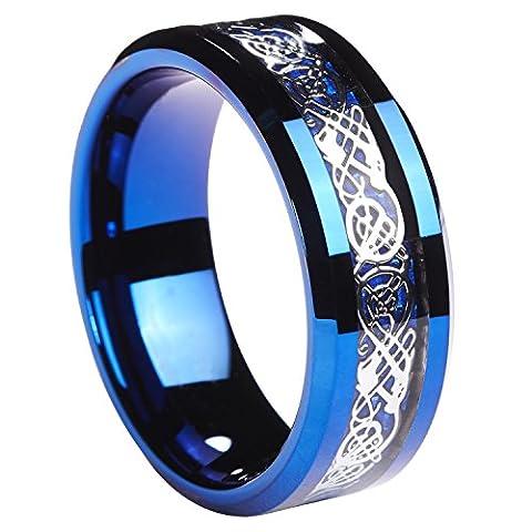 8MM blau Ring Wolframcarbid Silber glänzende Keltischer Drache blau Kohlefaser Inlay Herren Hochzeit Band Größe 6–13