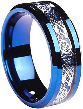 8MM blau Ring Wolframcarbid Silber glänzende Keltischer Drache blau Kohlefaser Inlay Herren Hochzeit Band Größe...