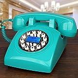 BHXUD Schnurtelefon, Festnetz, Tasten-Garten-Art amerikanisches mechanisches Bell-Hauptbüro-Telefon,Blue