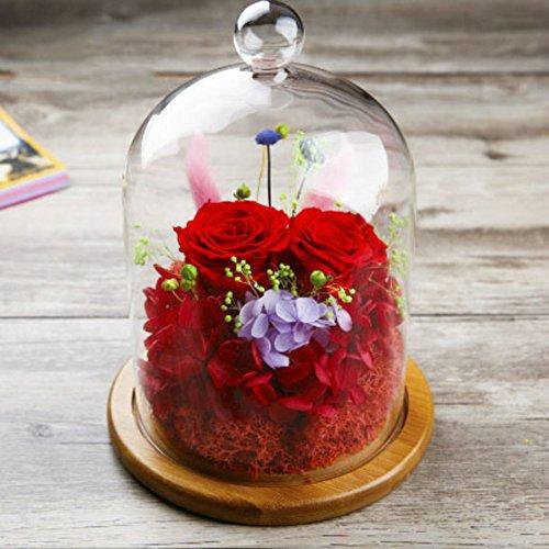 Ornements créatifs,Fleur éternelle Cadeau d'anniversaire La rose de verre Conservé ornements fleur Le jour de noël Décorations de réception-I