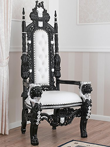 Simone Guarracino Trono Lion Estilo Barroco Dark sillón de Color Negro Lacado y Hoja Plata Eco-Piel...