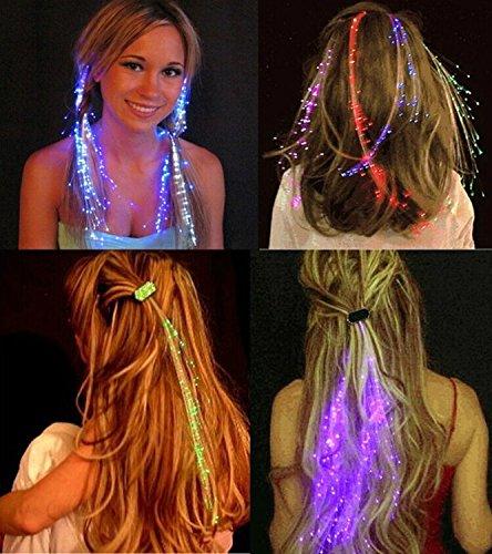 LED-Haarverlängerung, Extensions, Haarspange, aus Glasfasern 2pcs pink ()