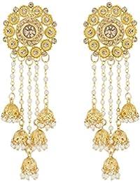 The Luxor Gold Plated Pearls Tassel Bahubali Jhumki Earrings For Women And Girls (ER-1778)