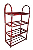 #7: Kotak Sales Portable Folding Shoe Rack Organizer Book Cloth Metal Shelf 4 Layer Shoerack Light Weight Easy to Carry Anywhere (Red or Blue)