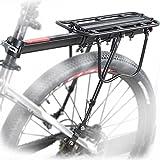 maikehigh 110 lb Estante de bicicleta trasero ajustable casi universal portabicicletas accesorio de bicicleta equipo de soporte pie de apoyo Carrier Rack con reflector