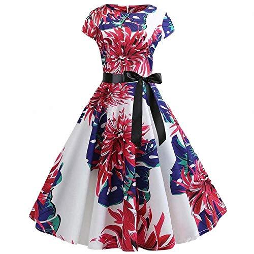 FeiXing158 2019 Sommerkleid Vintage Blumendruck Rockabilly Kleid Robe Femme Plus Size (Mouse-mini-cutter Mickey)