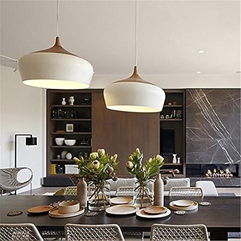 CAC Telecomando di moderni in legno di quercia chiaro lampada E27 zoccolo portalampade in legno lampadario bianco nero eventualmente 300mm / 350mm,bianco,35cm