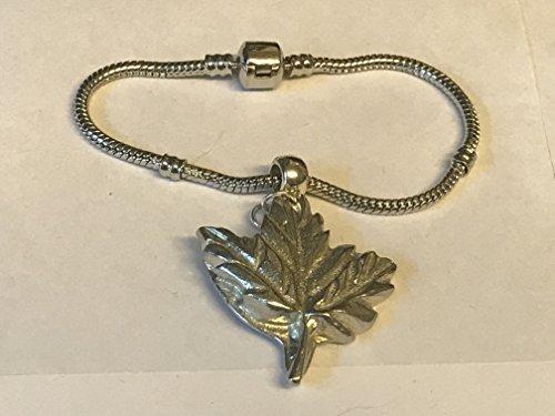 Big Maple Leaf tg237Charme auf einem Armband Silber rhodiniert Schlange geschrieben von uns Geschenke für alle 2016von Derbyshire UK