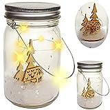 alles-meine.de GmbH 2 Stück _ LICHT Dekogläser - 5 Stück LED - Weihnachten - Kinder im Schnee - mit Henkel - Leuchte im Einmachglas - Flasche - Weihnachtsflaschen - Dekoflaschen ..