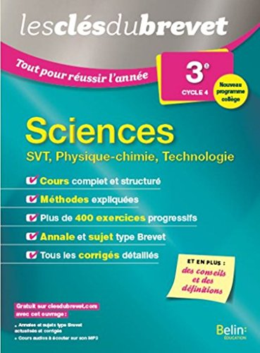 Sciences 3e - SVT, Physique-chimie, Technologie