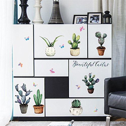 50 x 70 cm Abnehmbarer Vinyl Tapetensticker Multi Stile dekorative Wasserfeste Aufkleber (Cactus Handwerk)