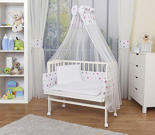 WALDIN Baby Beistellbett mit Matratze und Nestchen, höhen-verstellbar, 16 Modelle wählbar, Buche Massiv-Holz weiß lackiert,Große Liegefläche 90x55cm,Sterne/grau