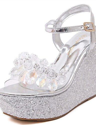 WSS 2016 Chaussures Femme-Décontracté-Rose / Blanc / Argent / Or-Talon Compensé-Compensées-Talons-Synthétique golden-us6.5-7 / eu37 / uk4.5-5 / cn37