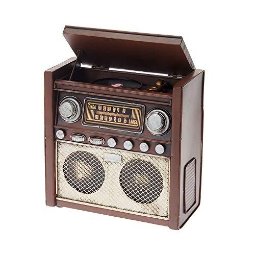 Pamer-Toys Spardosen - Sparbüchsen aus Blech - im Antik-Vintage-Retro-Style - (Spardose Radio, braun)