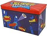 #9: Baby Grow Children Storage Box Folding Stool Under Lid Padded Seat Large (Super Hero)