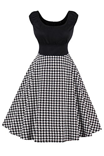Babyonlinedress® 50er Vintage Rockabilly Partykleider Cocktailkleider Hahnentritt Faltenrock Swing Sommer Kleid Schwarz S