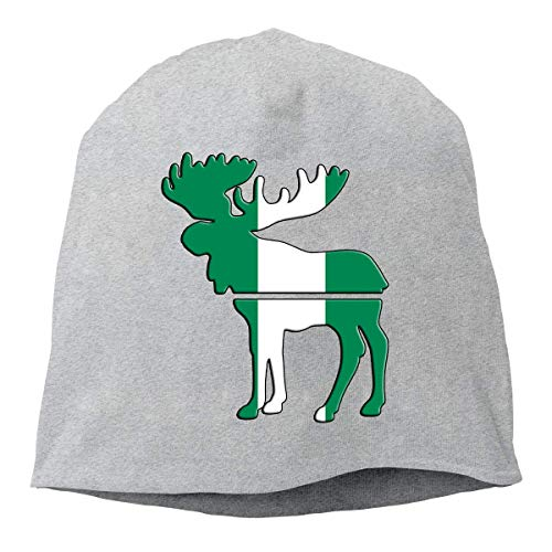 Moose Nigerian Flag Beanie Skull Cap for Women and Men - Winter Warm Daily Hat -