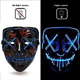AnseeDirect Halloween Maschera LED Purge Mask Cosplay LED Costume Maschera Horror con El Wire Light Up Mask per Vacanze Party Halloween Idea Regalo