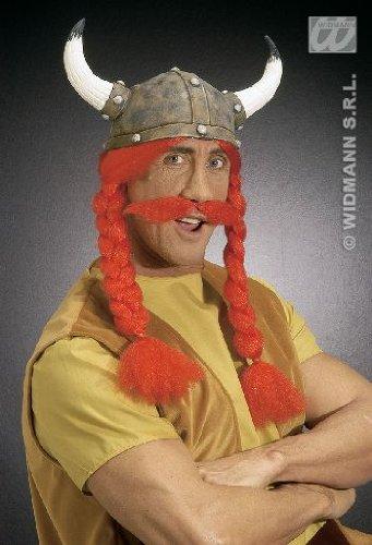 kinger-Helm mit roten Zöpfen und Schnurrbart ()