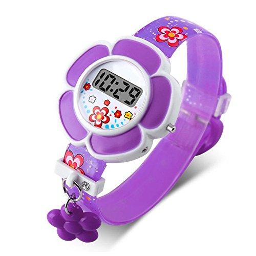 Christine Niedliche Kinder-Armbanduhr, wasserdicht, Niedliche Kinder-Uhren, Cartoon-Design, Silikon Digital-Armbanduhr für Jungen und Mädchen, violett, Free Size