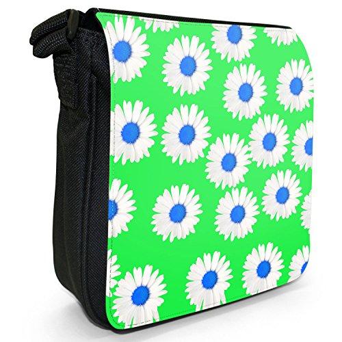 Dainty margherite-Borsa a tracolla in tela, piccola, colore: nero, taglia: S Nero (Green Dainty Daisies)